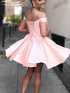 Cute A Line Off the Shoulder Open Back Sweetheart Pink Satin Short Homecoming Dresses