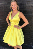 A-Line V-Neck Short Cute Prom Dresses Yellow Satin Homecoming Dresses