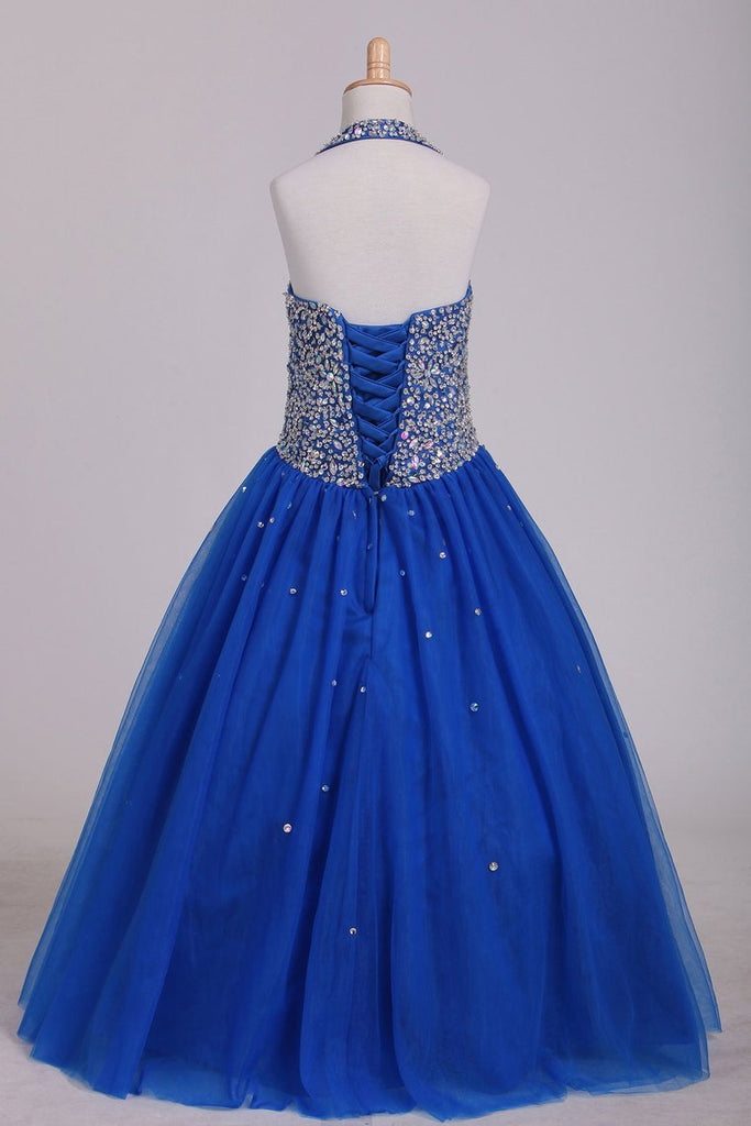Flower Girl Dresses Halter Beaded Bodice A Line Tulle Royal Blue