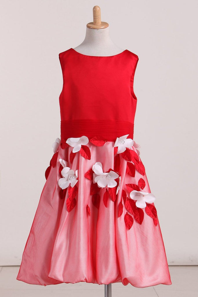 2019 New Arrival Flower Girl Dresses A Line Scoop Satin & Tulle With Handmade
