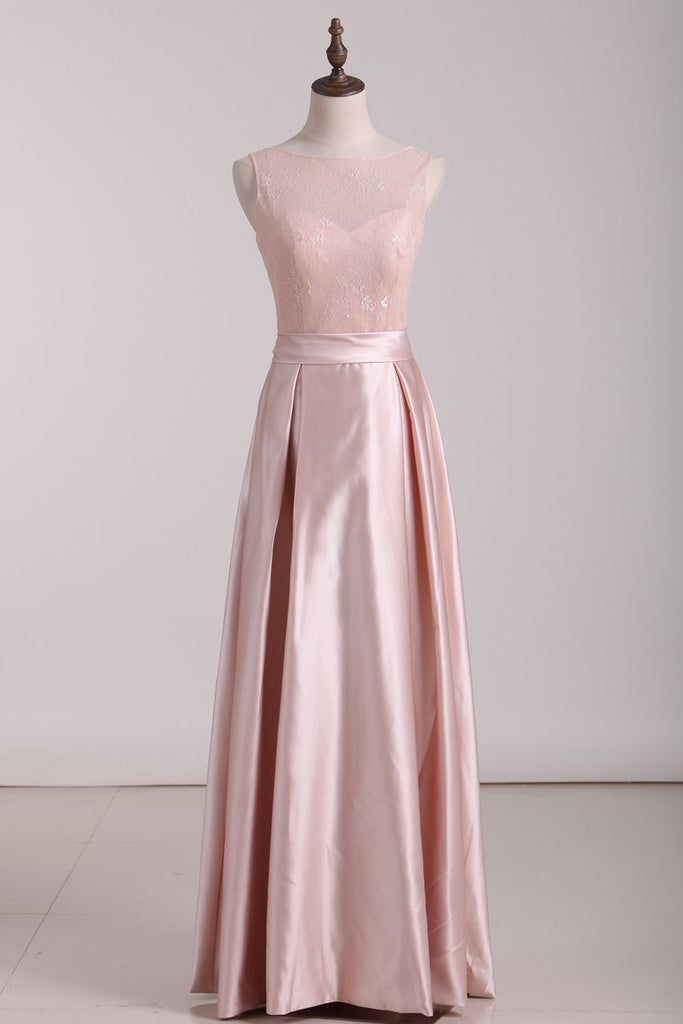 Open Back Scoop A Line Bridesmaid Dresses Satin & Lace Floor Length