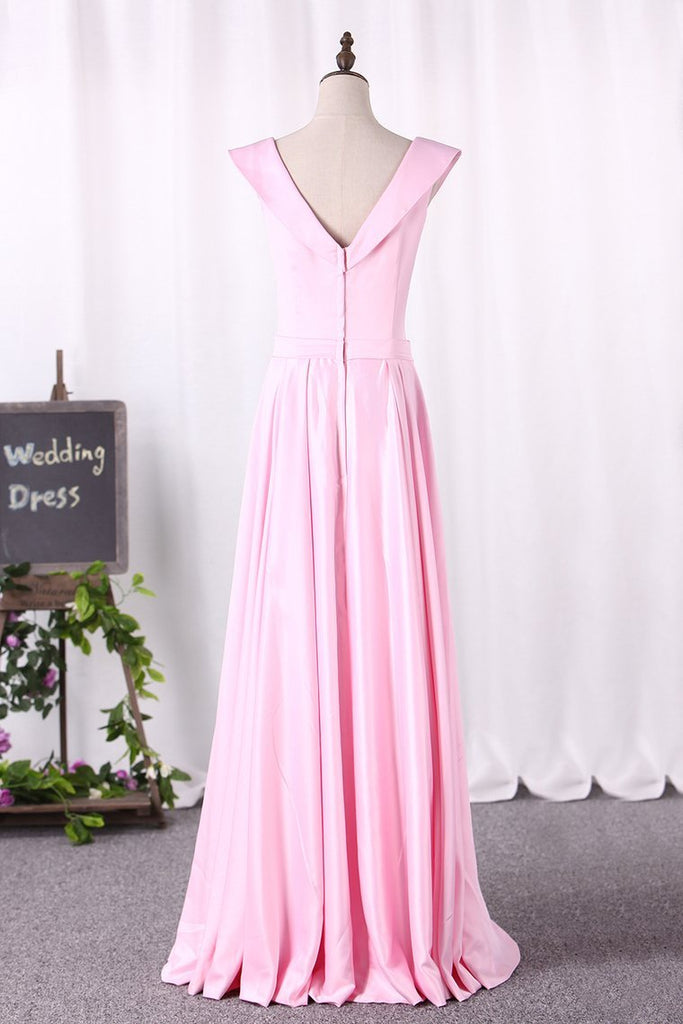 A Line New Arrival Off The Shoulder Satin Evening Dresses With Slit Zipper