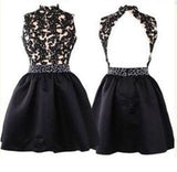 Elegant Short Open Back Lace Black Fitted Halter Cute Mini Homecoming Dresses