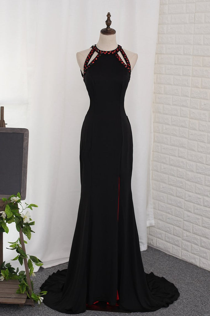 2019 Scoop Prom Dresses Mermaid Open Back With