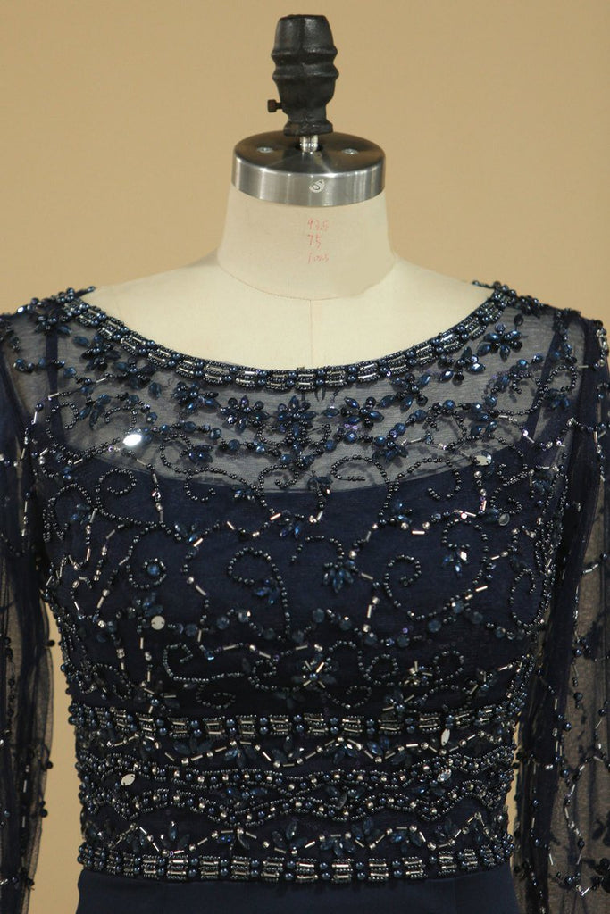 Dark Navy Spandex Scoop 3/4 Length Sleeves Beaded Bodice Mother Of The Bride Dresses Mermaid/Trumpet
