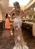 Generous Prom Dress Champagne Tulle Backless with whiter Lace appliques Evening Dress