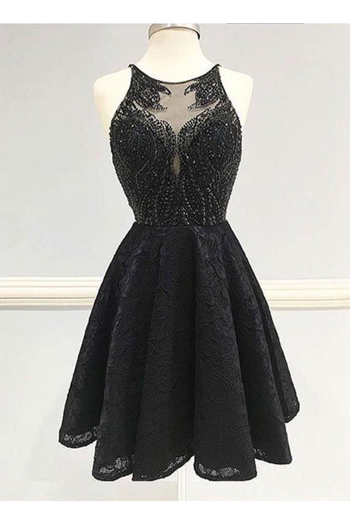 2019 Sexy Open Back Scoop Beaded Bodice Homecoming Dresses A