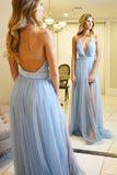 Criss Cross Plunging Neck Prom Dress With