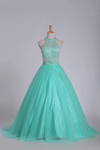 2019 Mint Ball Gown High Neck Beaded Bodice Prom Dresses Tulle Floor Length