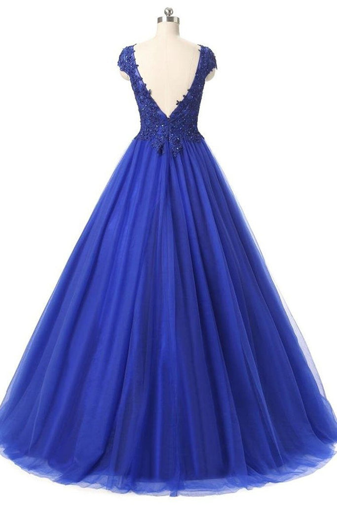 2019 Tulle Prom Dresses V-Neck Floor-Length With