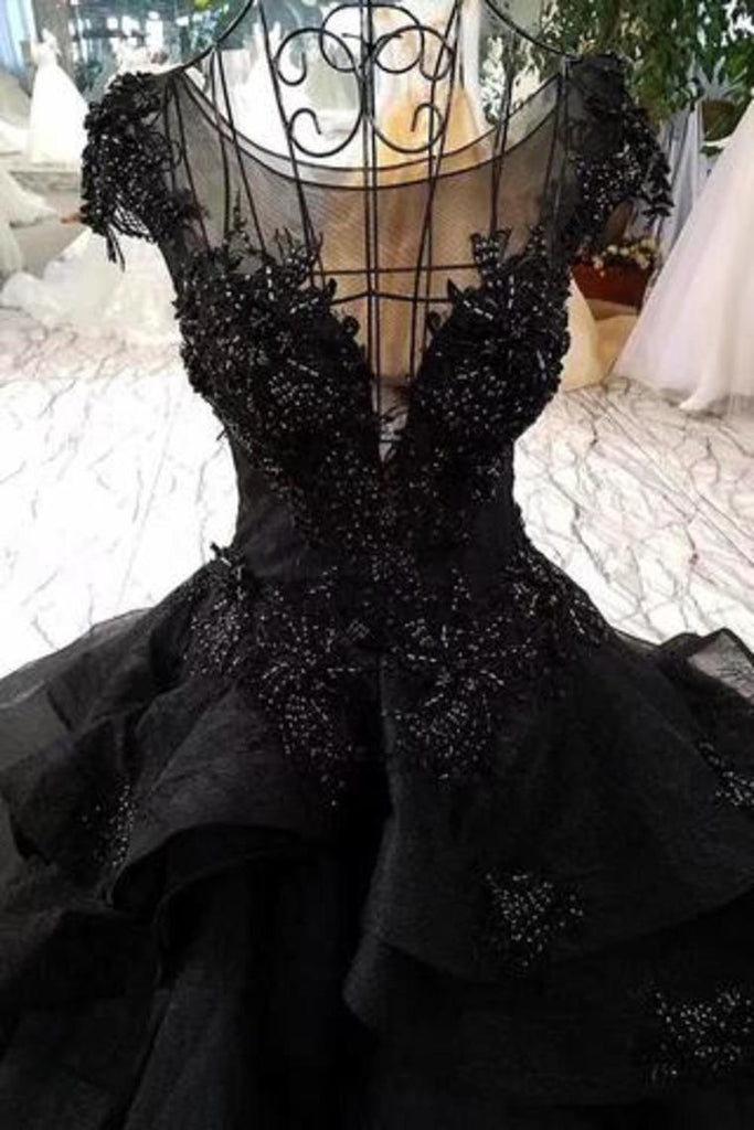 Gorgeous Black Ball Gown Wedding Dress With Cap Sleeves, Long Bridal Dress With