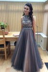 Full Length Sexy Tulle Beads Sleeveless A line Coffee Tulle Two Piece Prom