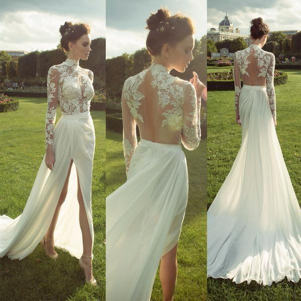 Gorgeous High Neck Long Sleeve See Through Lace Top Side Slit Ivory Chiffon Wedding Dress
