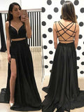 Sexy A Line V Neck Two Piece Sweetheart Cross Back Split Black Long Prom Dresses