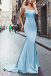 Elegant Amazing Beading Satin Scoop Mermaid Blue Backless Sleeveless Long Prom Dresses