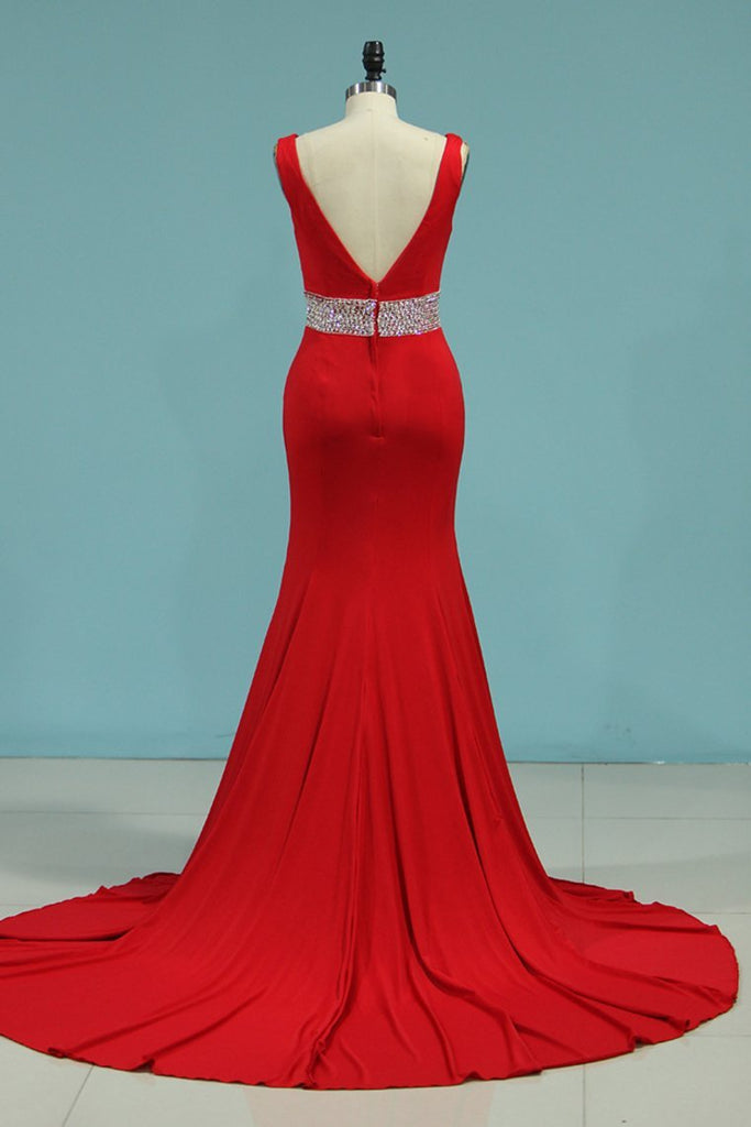 2019 New Arrival Prom Dresses Mermaid V Neck Spandex