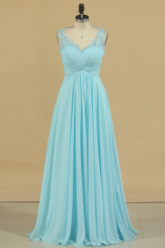 2019 Plus Size V-Neck Prom Dresses A Line Floor Length With Ruffles & Applique Chiffon