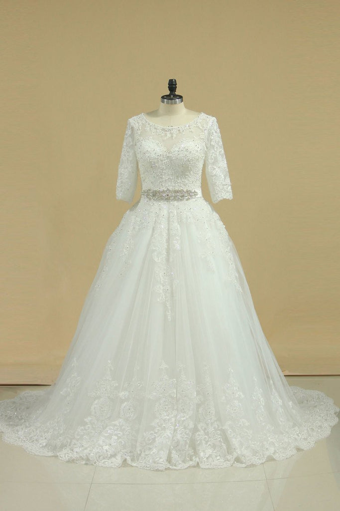 2019 Scoop Mid-Length Sleeves Wedding Dresses A Line Tulle With Applique &
