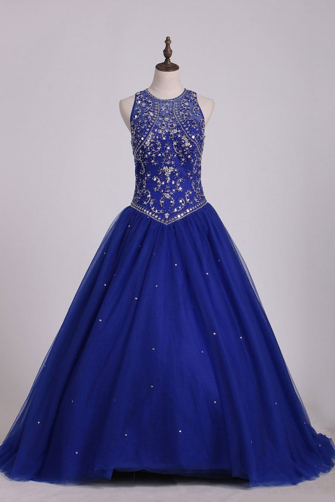 2019 Dark Royal Blue Scoop Quinceanera Dresses Ball Gown Tulle With Beading Court Train