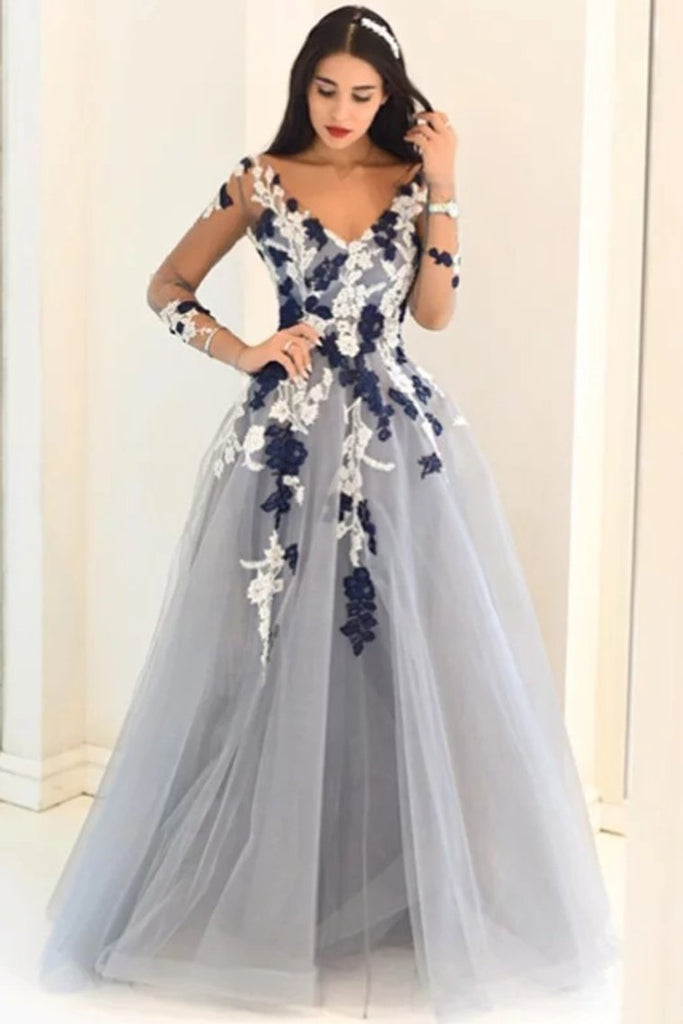 2019 A-Line/Princess V-Neck Long Sleeves Applique Tulle Floor-Length Dresses Evening