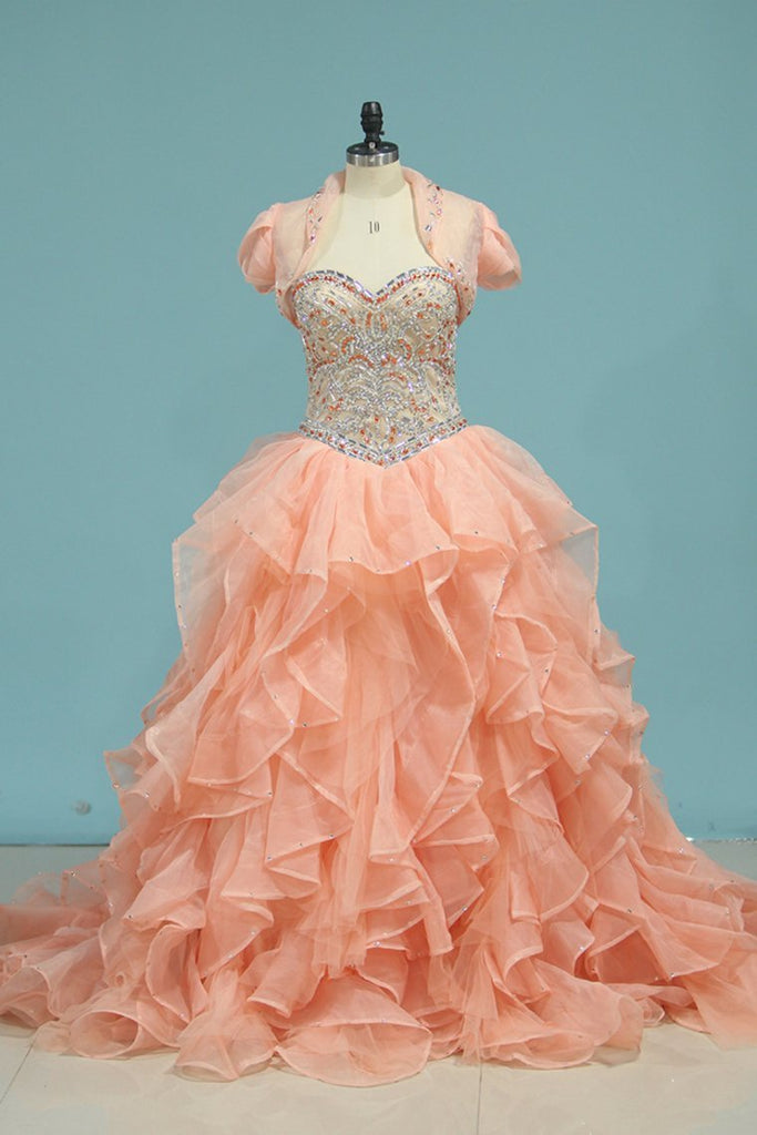 2019 Quinceanera Dresses Sweetheart Ball Gown With Beads And