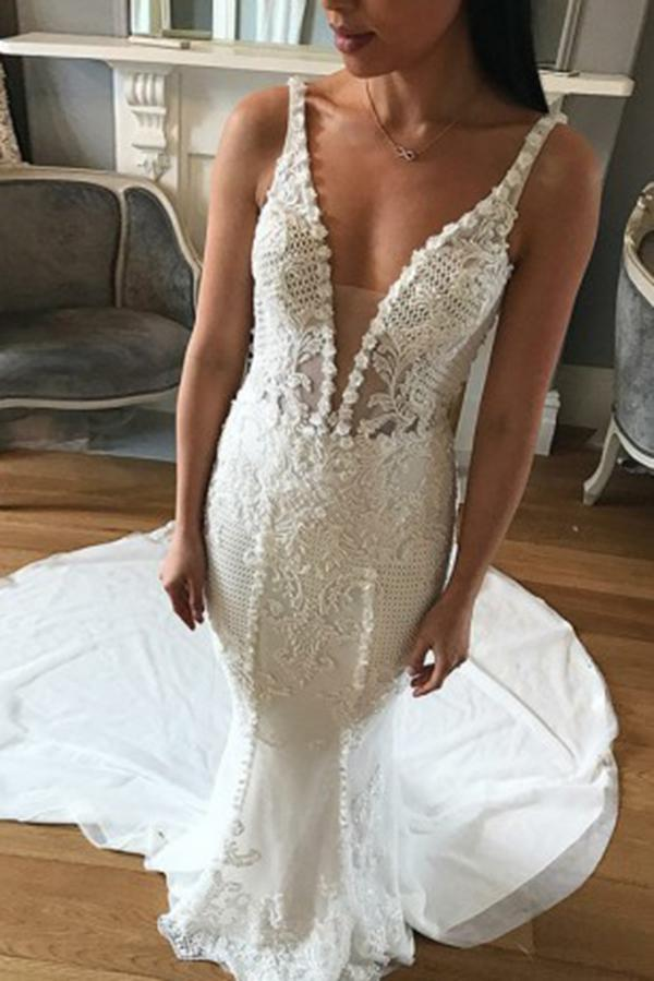 Mermaid Deep V Neck Backless Sweep Train Wedding Dresses with Lace Appliques