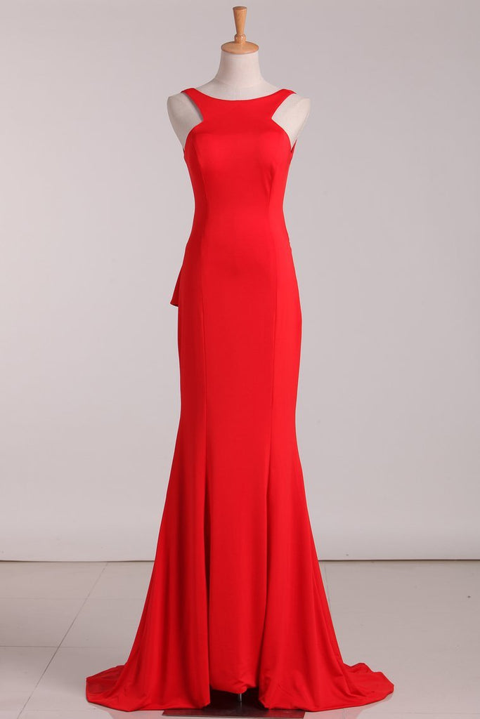 Open Back Evening Dresses Scoop Mermaid Red Sweep