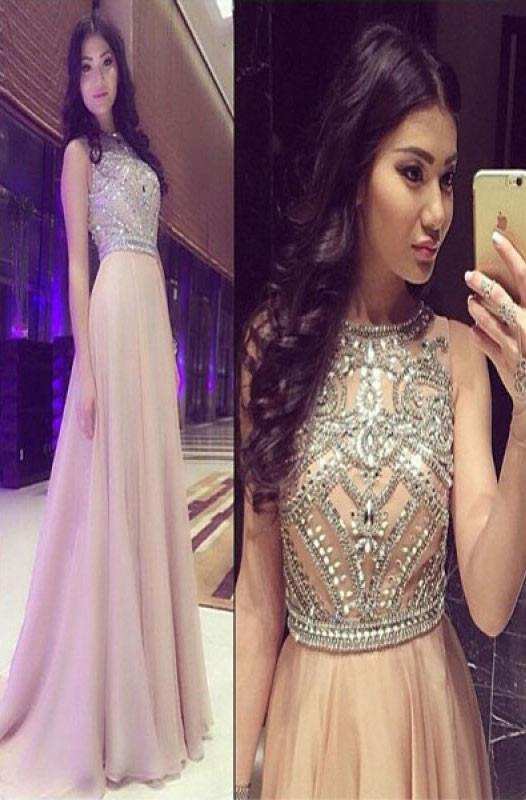 New Design Sexy Charming A-Line Beaded Floor Long Chiffon Prom Party Evening