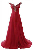 Off Shoulder Beading Bodice Long Chiffon Prom Dresses Evening DRESSES