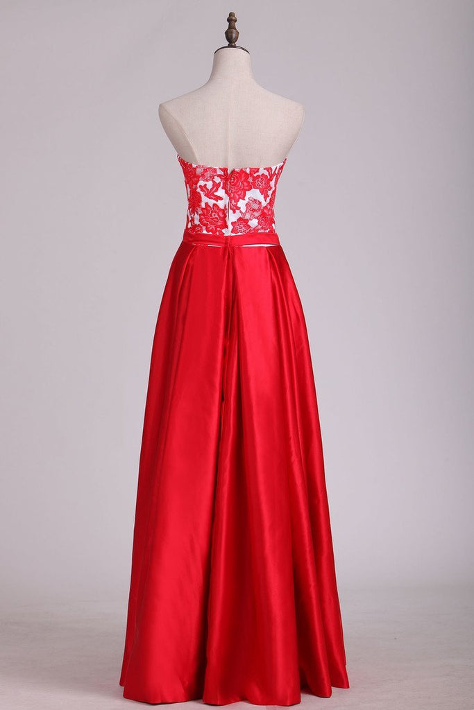 2019 New Arrival Strapless With Applique A Line Satin Evening Dresses Floor Length