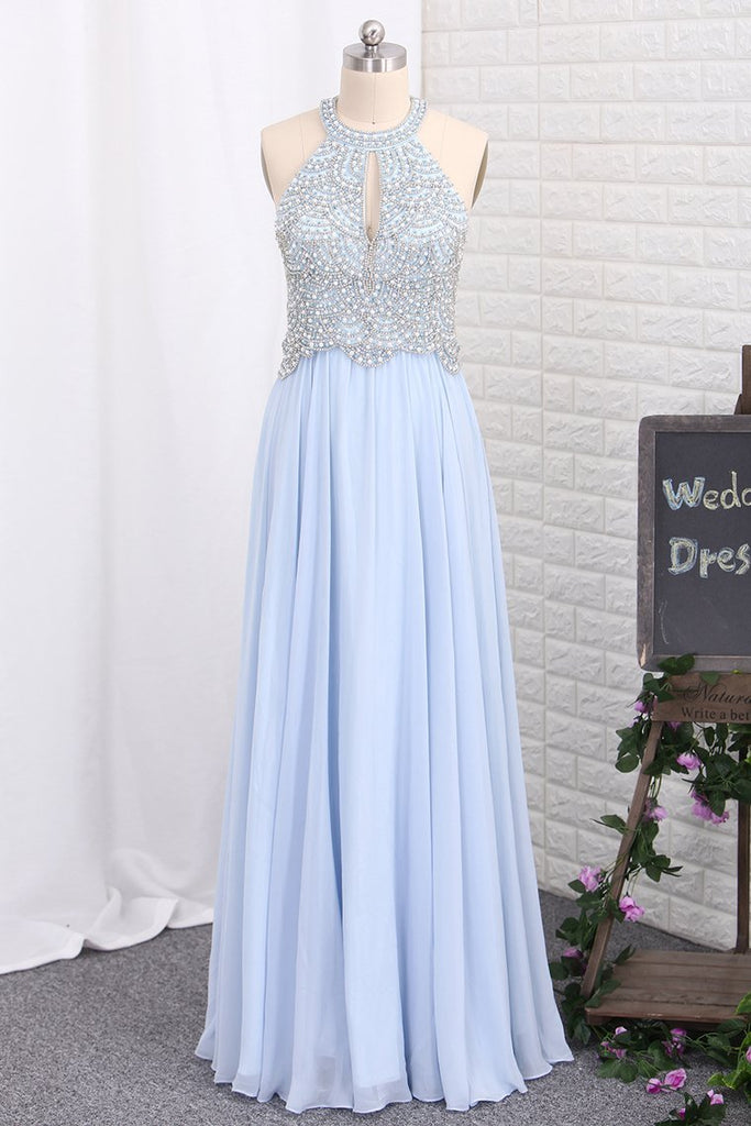 2019 New Arrival Prom Dresses Scoop Chiffon With Beading Open
