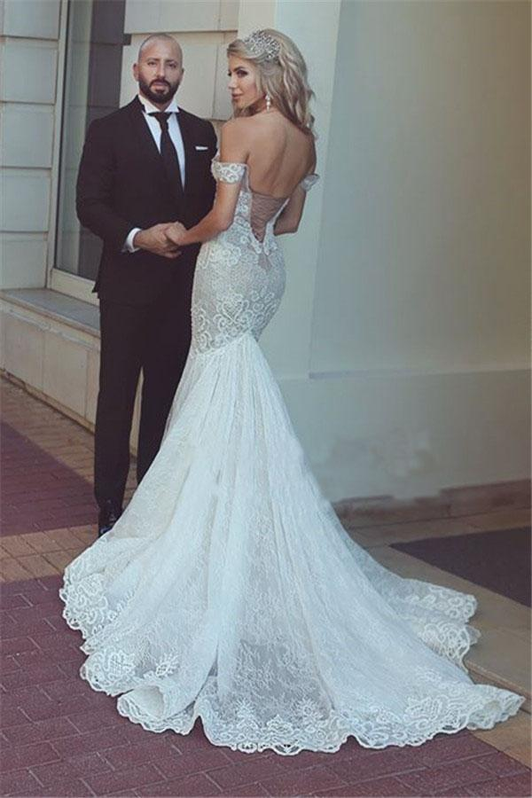 Sexy Queen Mermaid Sweetheart Ivory Lace Off-the-Shoulder Open Back Wedding Dresses