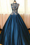 High Neck Sleeveless Appliques Ball Gown Open Back Satin Long Blue Prom Dresses