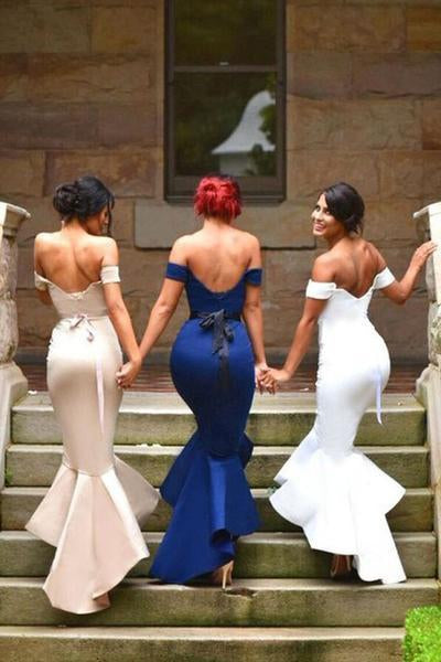 Mermaid Satin Off-the-Shoulder Sweetheart Backless High Low Prom Dresses Bridesmaid Dress