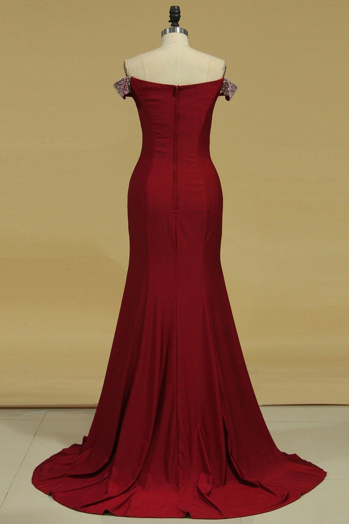 2019 Evening Dresses Mermaid Off The Shoulder Spandex With Beads And Slit