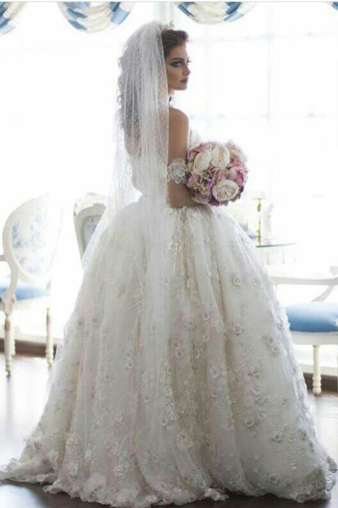 2019 Off The Shoulder Wedding Dresses A Line Tulle  With Applique Floor Length