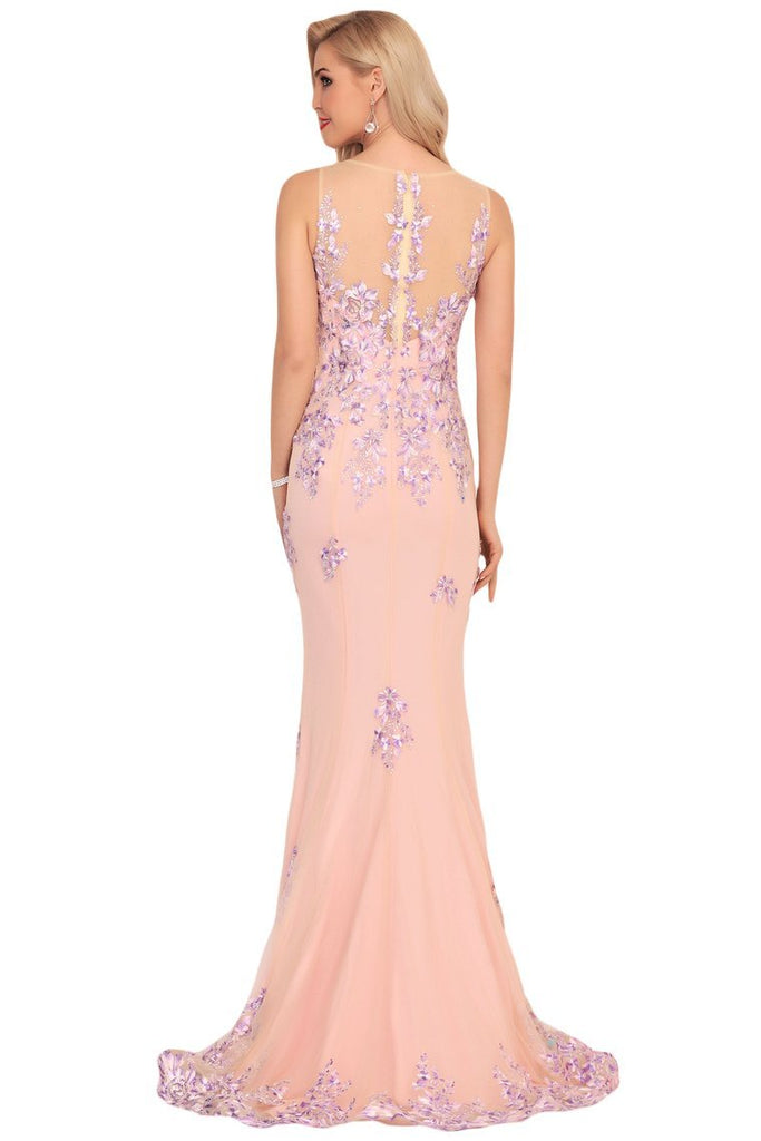 2019 Mermaid Scoop Tulle Prom Dresses With Beads&Appliques Sweep