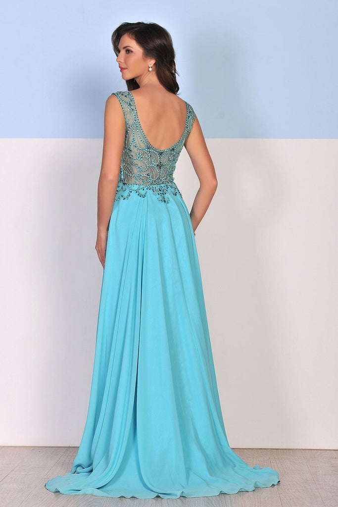 2019 Chiffon Scoop A Line With Beading Sweep Train Prom