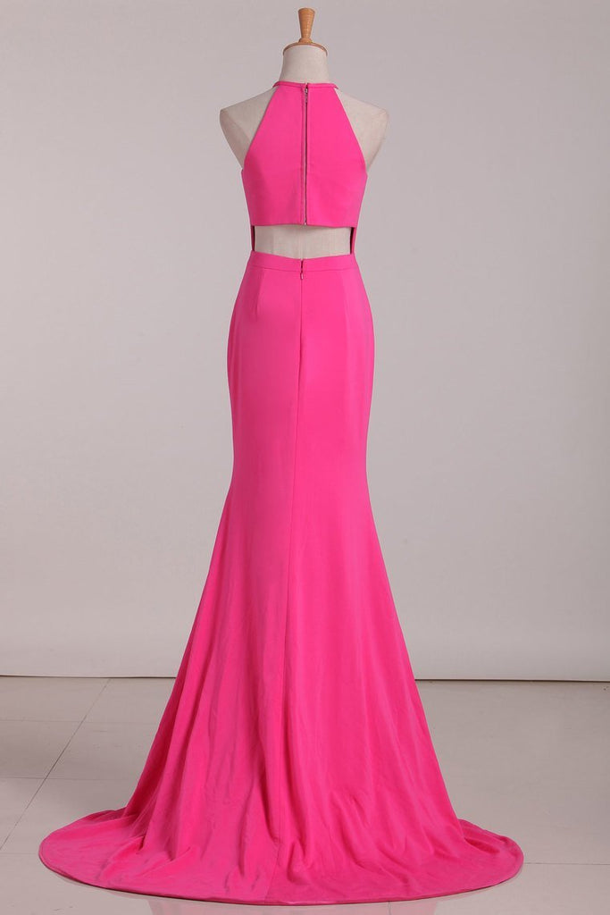 2019 Mermaid Evening Dresses Halter Chiffon Sweep Train