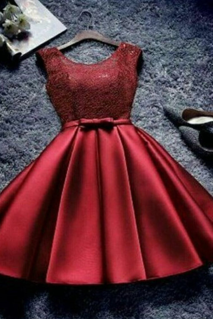 Homecoming Dresses Bridesmaid Dresses A Line Scoop Lace Bodice Satin Lace