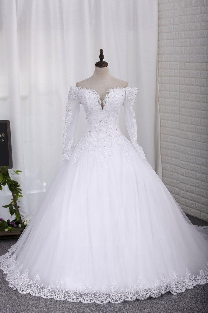 2019 New Wedding Dress A-Line Scoop Long Sleeves Tulle Court Train With