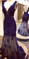 Deep bule tulle V-neck mermaid beading full-length evening dresses