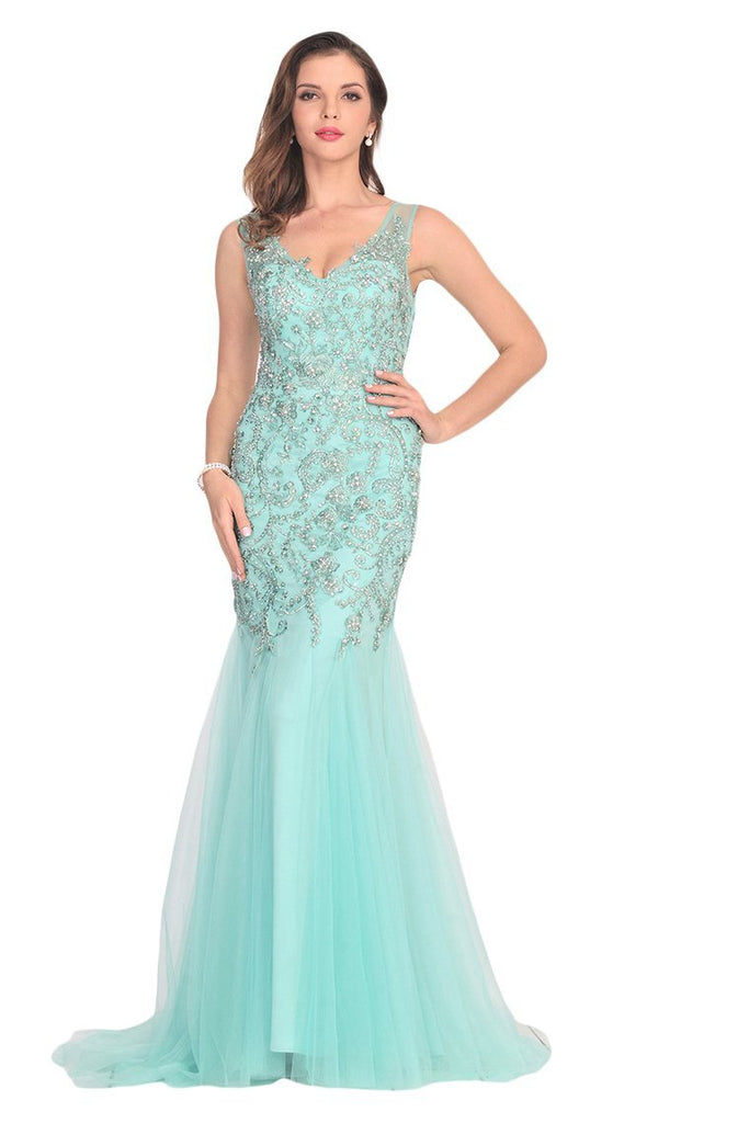2019 New Arrival V Neck Tulle With Applique And Beads Mermaid Prom