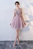 Princess Pink A Line V Neck Flowers Tulle Lace up Short Mini Homecoming Dresses