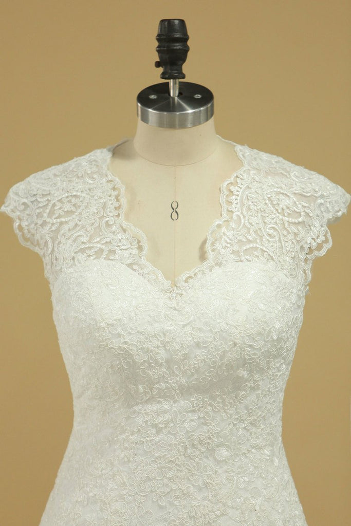 2019 Wedding Dresses V Neck Cap Sleeve With Applique Mermaid