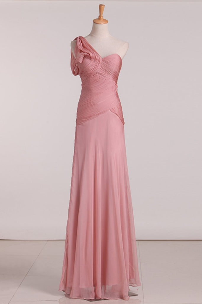 A Line One Shoulder With Ruffles Bridesmaid Dresses Chiffon Floor Length