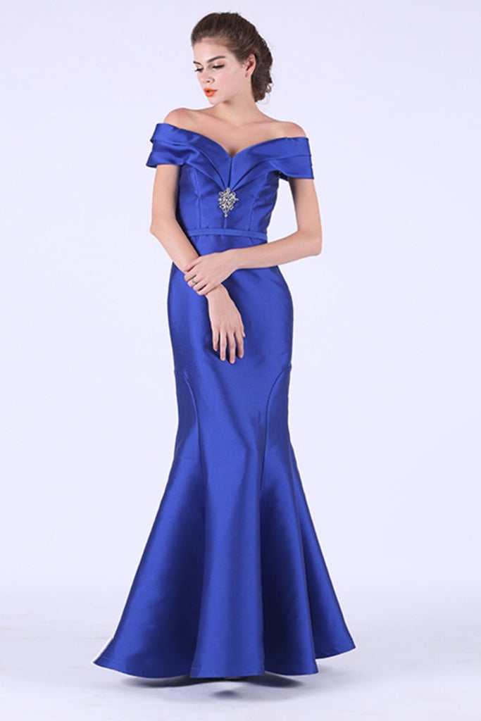 2019 Off The Shoulder Satin With Beads Prom Dresses Mermaid Floor