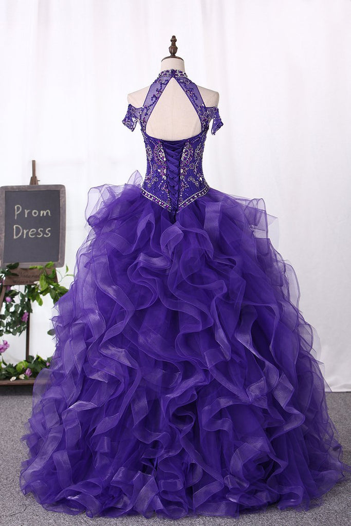 2019 Ball Gown Tulle Quinceanera Dresses High Neck Beaded Bodice Sweep