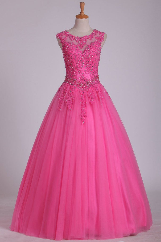 2019 Cap Sleeves Quinceanera Dresses Scoop Ball Gown Tulle With Applique