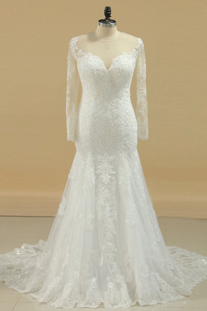 2019 Hot And New Arrival Short Sleeves Scoop Wedding Dresses A Line Tulle With Applique
